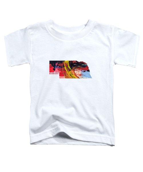 Nebraska Map Art - Painted Map Of Nebraska Toddler T-Shirt