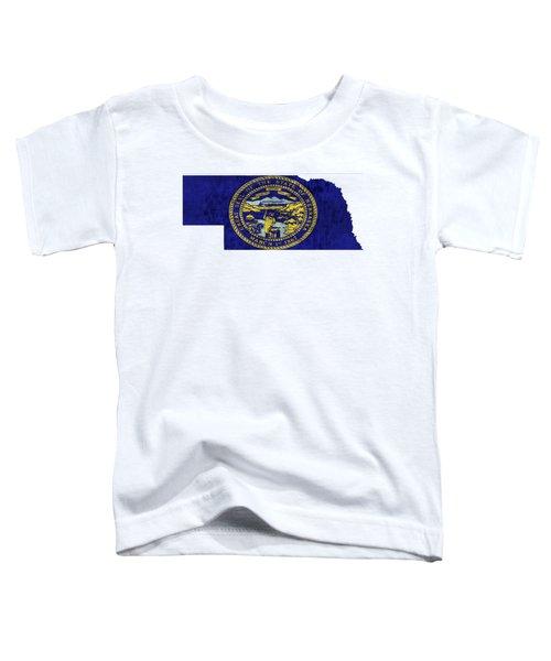 Nebraska Map Art With Flag Design Toddler T-Shirt