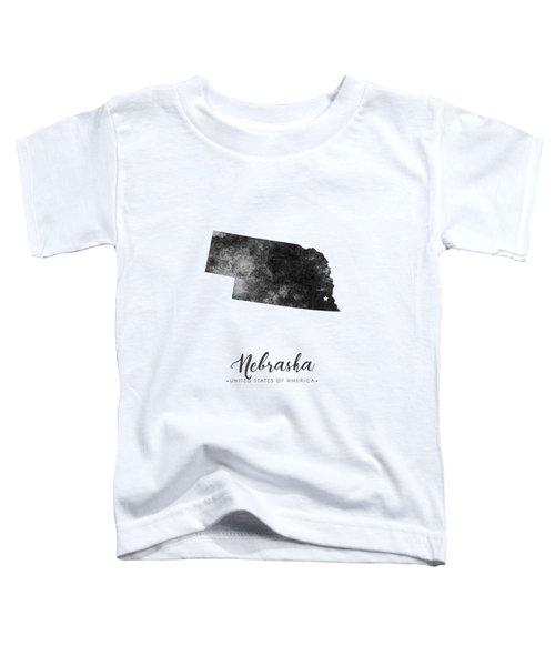 Nebraska State Map Art - Grunge Silhouette Toddler T-Shirt