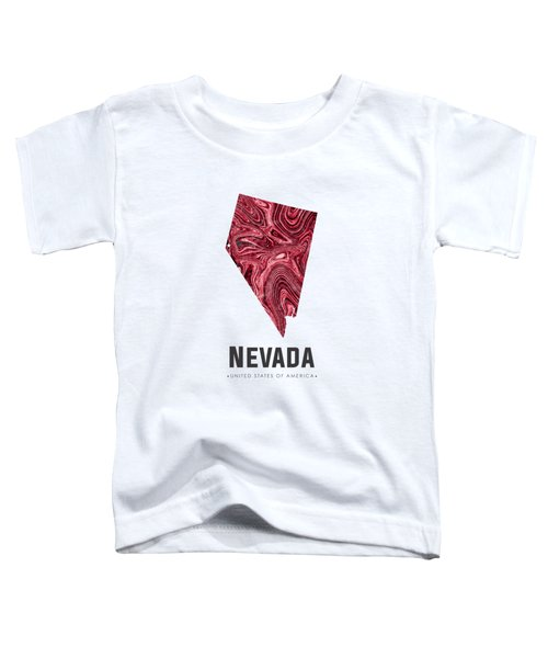 Nevada Map Art Abstract In Deep Red Toddler T-Shirt