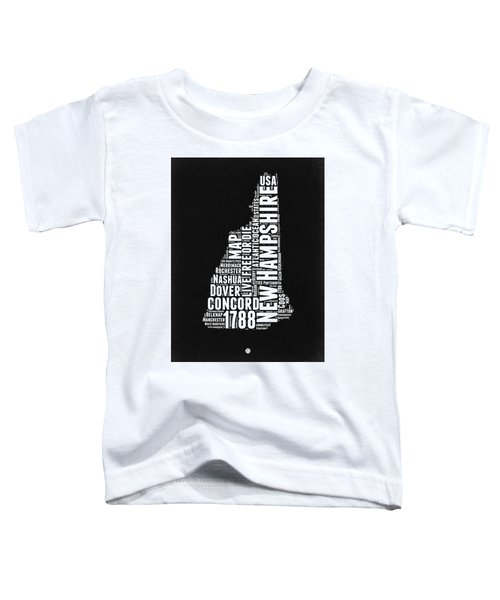 New Hampshire Word Cloud Black And White Map Toddler T-Shirt