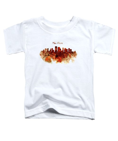 New Orleans Watercolor Skyline Toddler T-Shirt by Marian Voicu