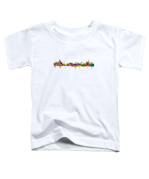 New York And London Skyline Mashup Toddler T-Shirt by Michael Tompsett