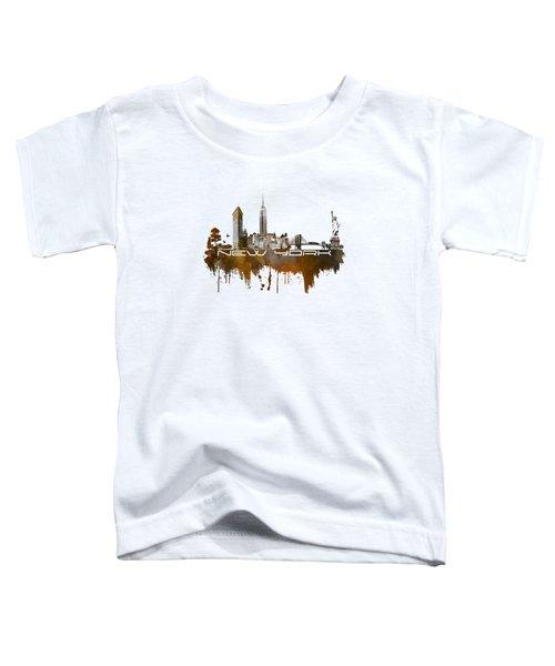 New York City Skyline Brown Toddler T-Shirt