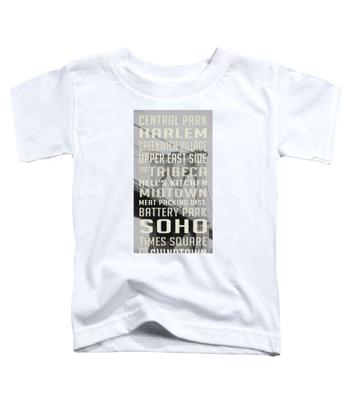 New York City Subway Stops Vintage Brooklyn Bridge Toddler T-Shirt by Edward Fielding