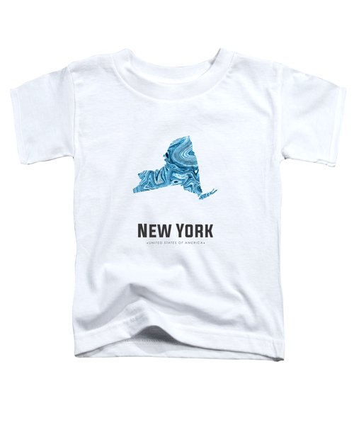 New York Map Art Abstract In Blue Toddler T-Shirt