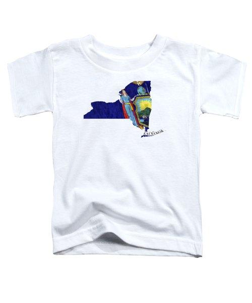 New York Map Art With Flag Design Toddler T-Shirt