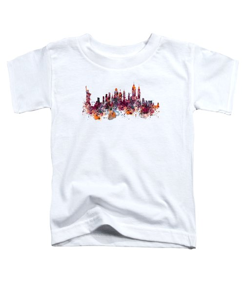 New York Skyline Watercolor Toddler T-Shirt by Marian Voicu
