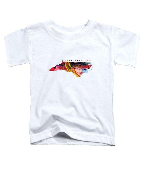 North Carolina Map Art - Painted Map Of North Carolina Toddler T-Shirt