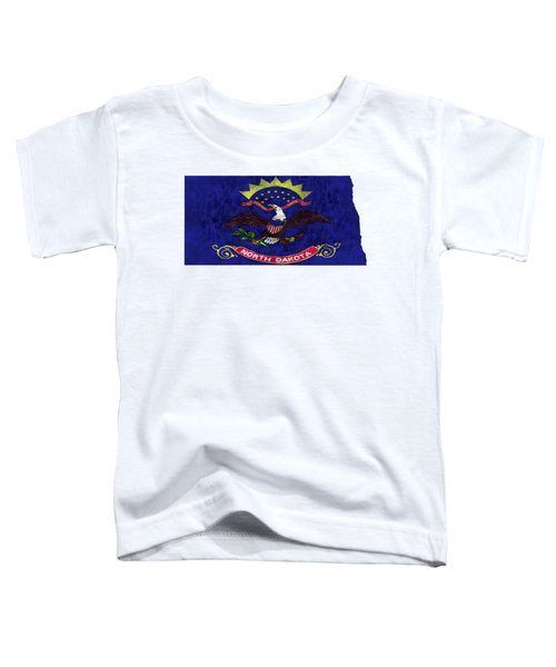 North Dakota Map Art With Flag Design Toddler T-Shirt