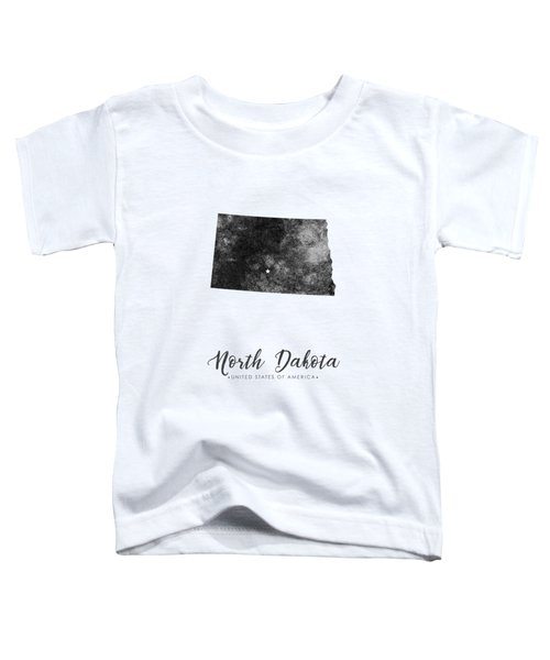 North Dakota State Map Art - Grunge Silhouette Toddler T-Shirt