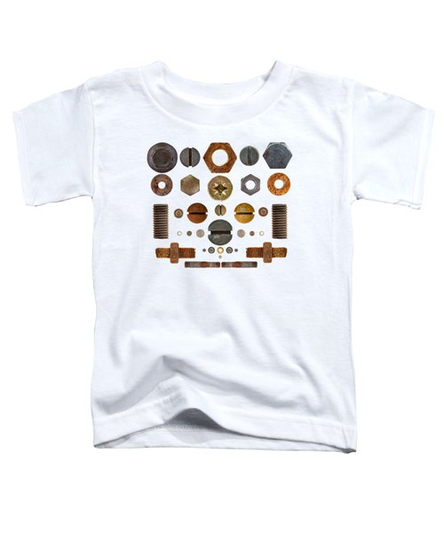 Nuts, Rivets, Bolt Heads And Screws On Transparent Background Toddler T-Shirt