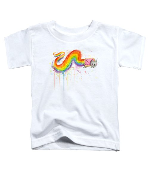 Nyan Cat Watercolor Toddler T-Shirt