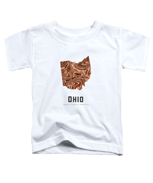 Ohio Map Art Abstract In Brown Toddler T-Shirt