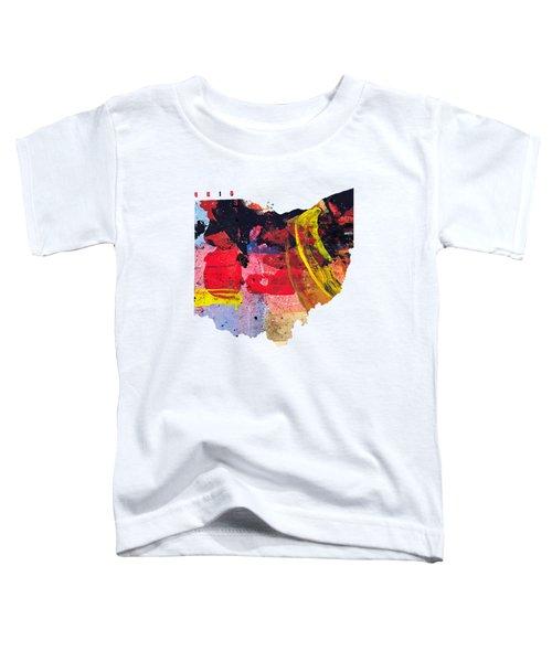 Ohio Map Art - Painted Map Of Ohio Toddler T-Shirt