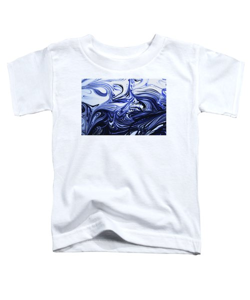 Oil Swirl Blue Droplets Abstract I Toddler T-Shirt