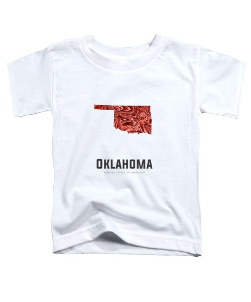 Oklahoma Map Art Abstract In Deep Red Toddler T-Shirt