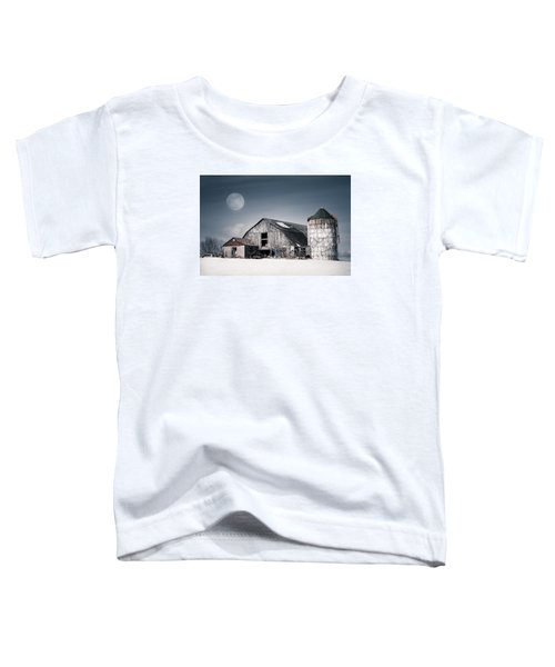 Old Barn And Winter Moon - Snowy Rustic Landscape Toddler T-Shirt