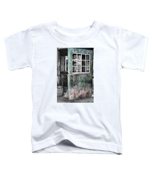 Rustic Blue - Green Door  Toddler T-Shirt