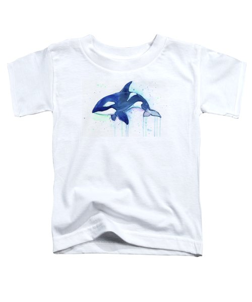 Orca Whale Watercolor Killer Whale Facing Right Toddler T-Shirt