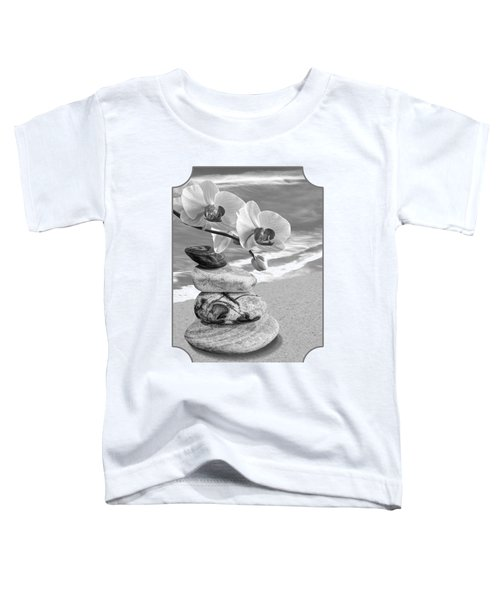 Orchids And Pebbles On The Sand In Black And White Toddler T-Shirt
