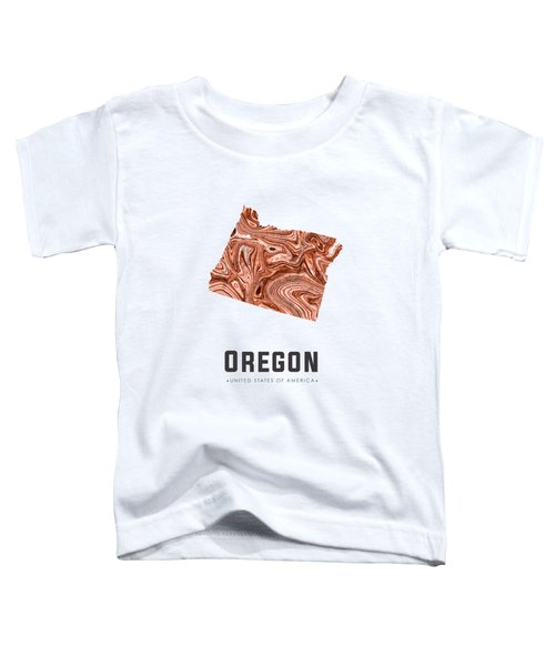 Oregon Map Art Abstract In Brown Toddler T-Shirt