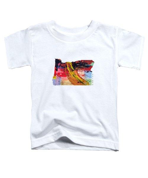 Oregon Map Art - Painted Map Of Oregon Toddler T-Shirt