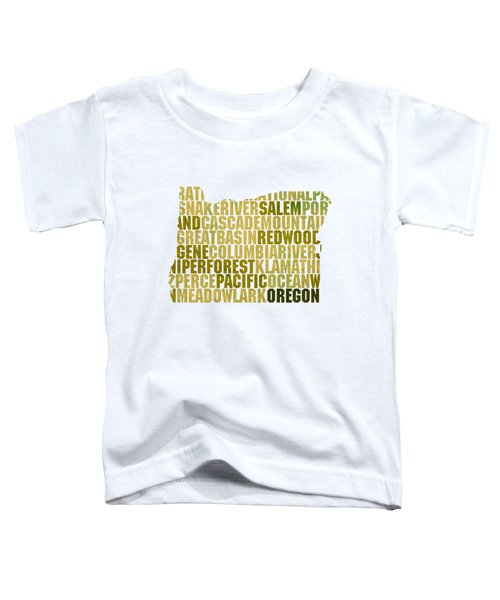 Oregon State Outline Word Map Toddler T-Shirt by Design Turnpike
