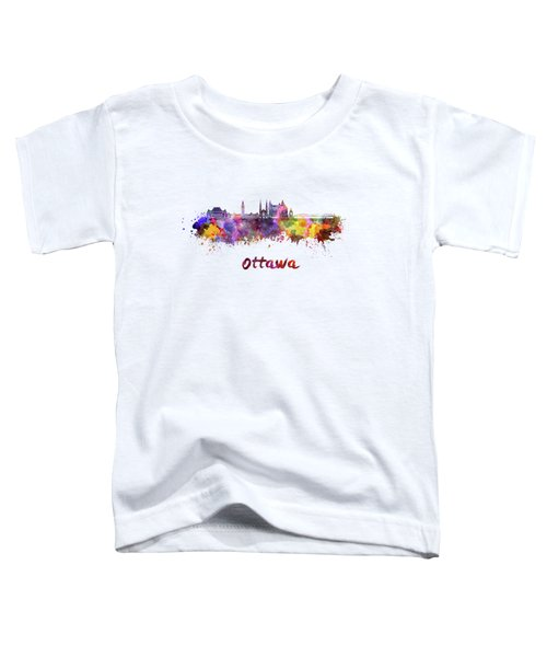 Ottawa V2 Skyline In Watercolor Toddler T-Shirt