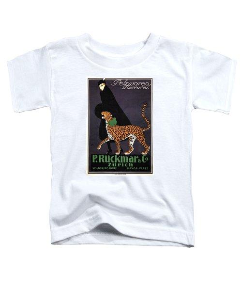 P Ruckmar And Co, Zurich - Switzerland - Lady, Cheetah, Fur Jacket - Vintage Fashion Advertisement Toddler T-Shirt