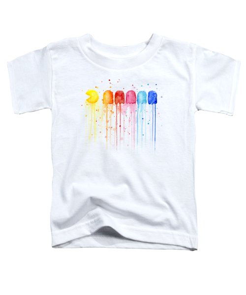 Pacman Watercolor Rainbow Toddler T-Shirt