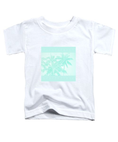Palm Trees Hawaii Tropical Cyan Toddler T-Shirt