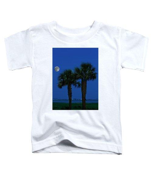 Palms And Moon At Morse Park Toddler T-Shirt by Bill Barber