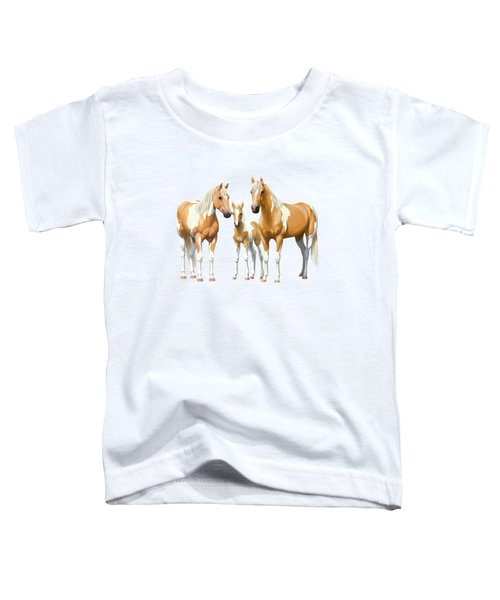 Palomino Paint Horses In Winter Pasture Toddler T-Shirt