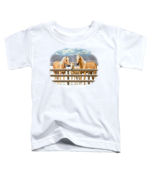 Palomino Quarter Horses In Snow Toddler T-Shirt