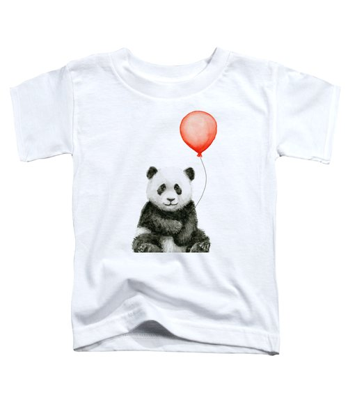 Panda Baby And Red Balloon Nursery Animals Decor Toddler T-Shirt