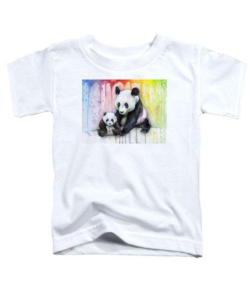 Panda Watercolor Mom And Baby Toddler T-Shirt