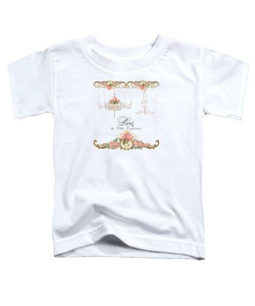 Parchment Paris - City Of Light Rose Chandelier W Plaster Walls Toddler T-Shirt by Audrey Jeanne Roberts