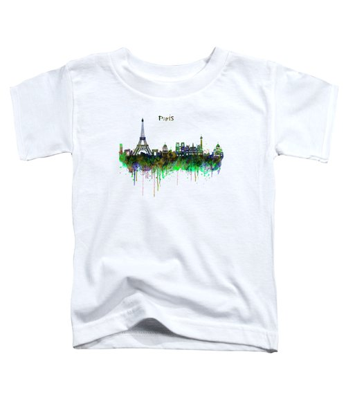 Paris Skyline Watercolor Toddler T-Shirt by Marian Voicu