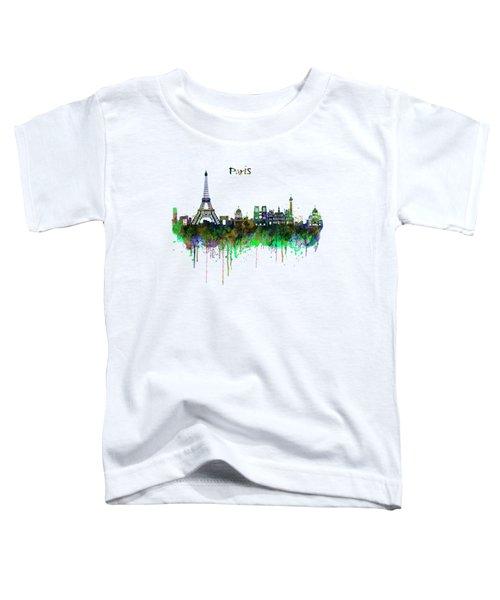 Paris Skyline Watercolor Toddler T-Shirt by Marian Voicu