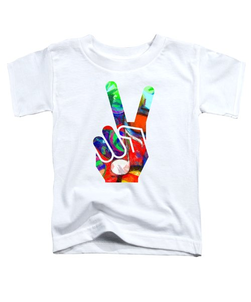 Peace Hippy Paint Hand Sign Toddler T-Shirt by Edward Fielding