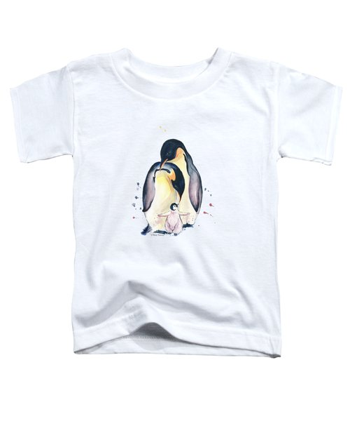 Penguins Family Watercolor Toddler T-Shirt