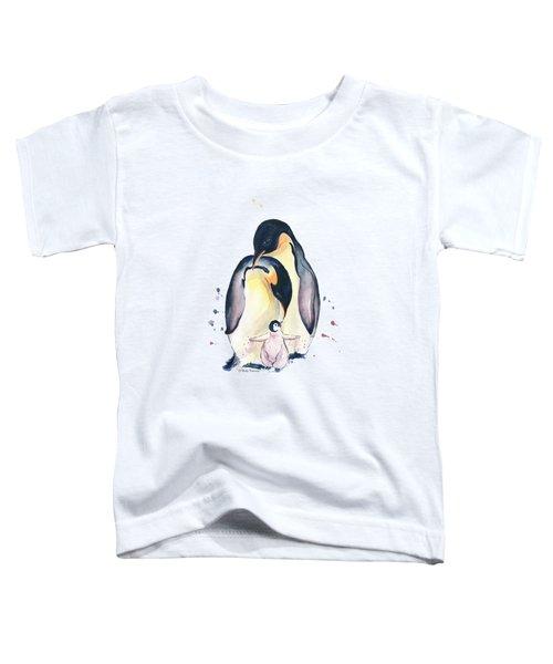 Penguins Family Watercolor Toddler T-Shirt