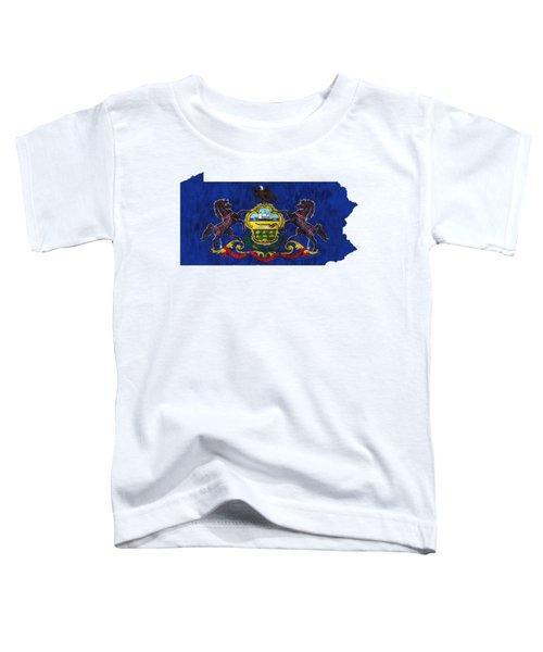 Pennsylvania Map Art With Flag Design Toddler T-Shirt