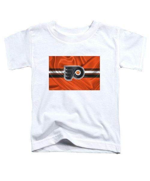 Philadelphia Flyers - 3 D Badge Over Silk Flag Toddler T-Shirt