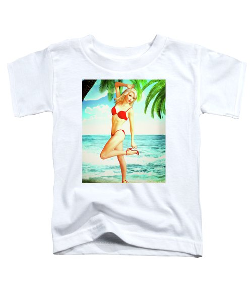 Pin-up Beach Blonde In Red Bikini Toddler T-Shirt