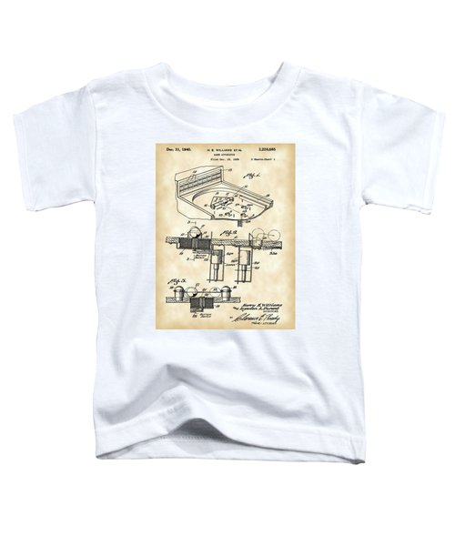 Pinball Machine Patent 1939 - Vintage Toddler T-Shirt by Stephen Younts