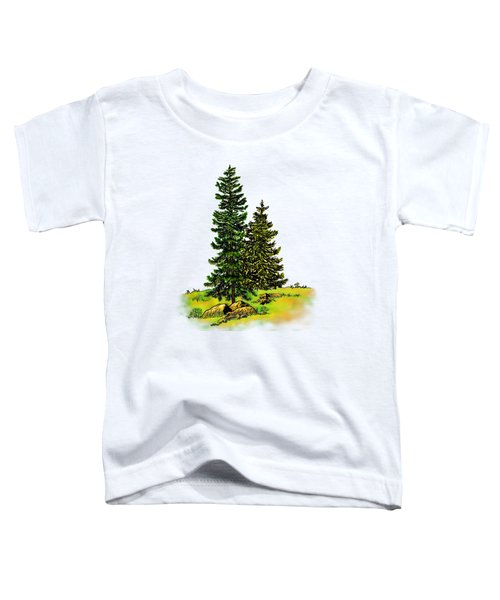 Pine Tree Nature Watercolor Ink Image 2b        Toddler T-Shirt
