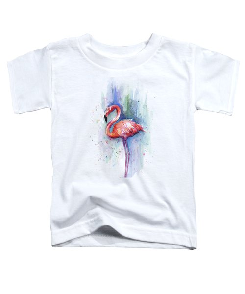 Pink Flamingo Watercolor Toddler T-Shirt by Olga Shvartsur