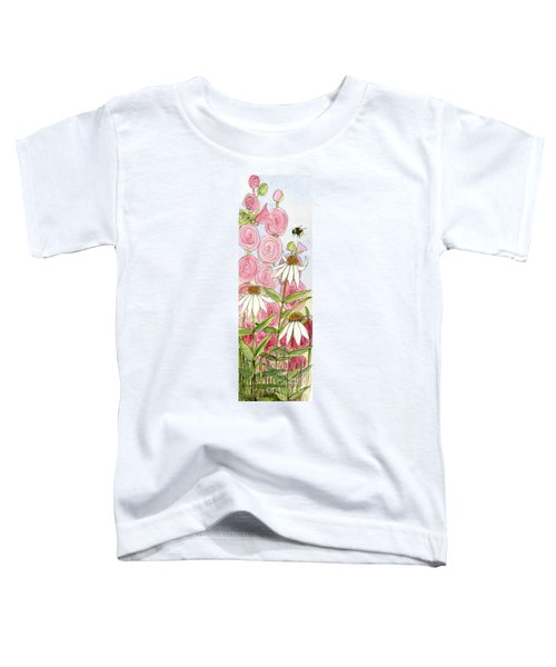 Pink Hollyhock And White Coneflowers Toddler T-Shirt